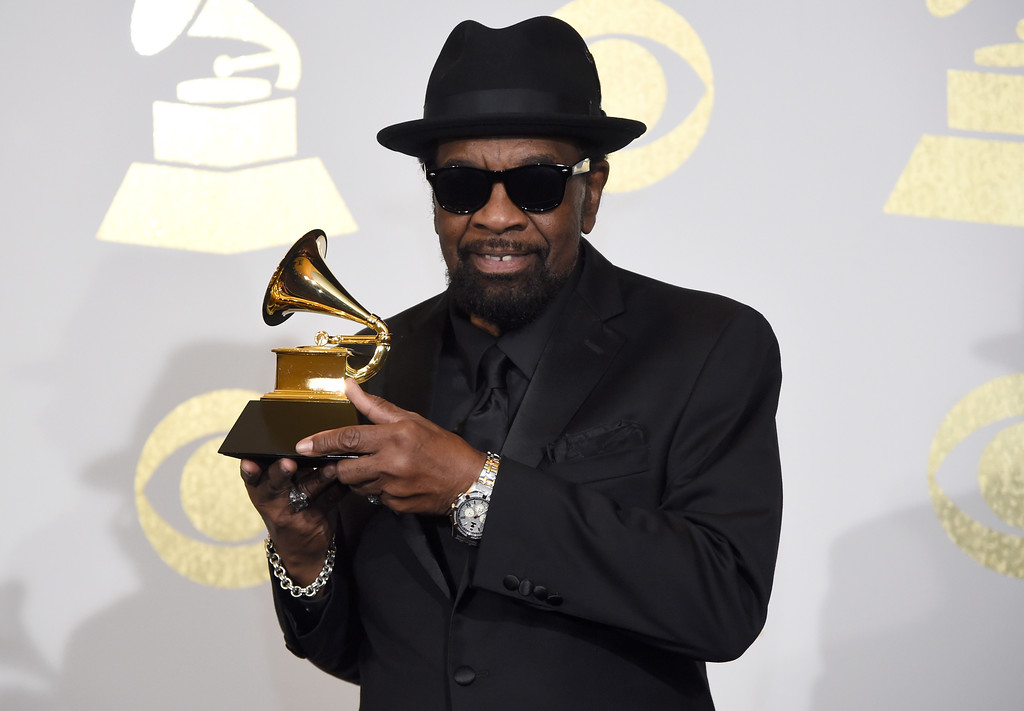 """. Bobby Rush poses in the press room with the award for best traditional blues album for \""""Porcupine Meat\"""" at the 59th annual Grammy Awards at the Staples Center on Sunday, Feb. 12, 2017, in Los Angeles. (Photo by Chris Pizzello/Invision/AP)"""