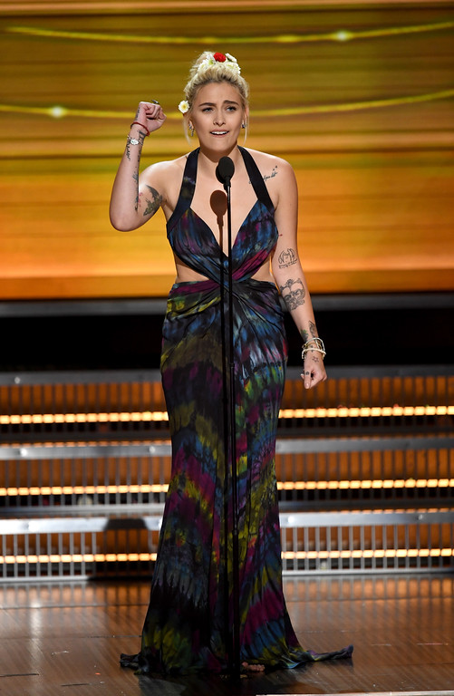 . LOS ANGELES, CA - FEBRUARY 12:  Paris Jackson speaks onstage during The 59th GRAMMY Awards at STAPLES Center on February 12, 2017 in Los Angeles, California.  (Photo by Kevin Winter/Getty Images for NARAS)