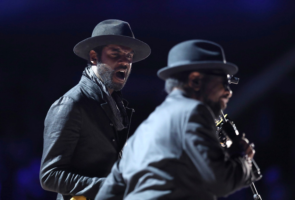 """. Gary Clark Jr., left, and William Bell perform \""""Born Under a Bad Sign\"""" at the 59th annual Grammy Awards on Sunday, Feb. 12, 2017, in Los Angeles. (Photo by Matt Sayles/Invision/AP)"""