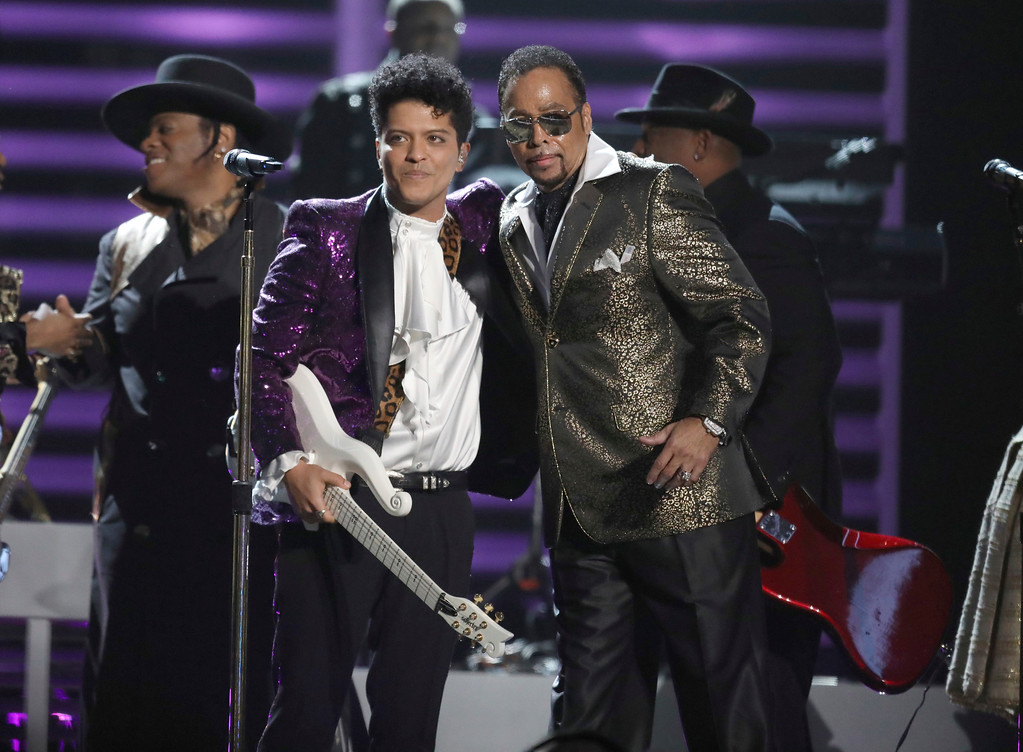 . Bruno Mars, left, and Morris Day, of The Time, perform during a tribute to Prince at the 59th annual Grammy Awards on Sunday, Feb. 12, 2017, in Los Angeles. (Photo by Matt Sayles/Invision/AP)