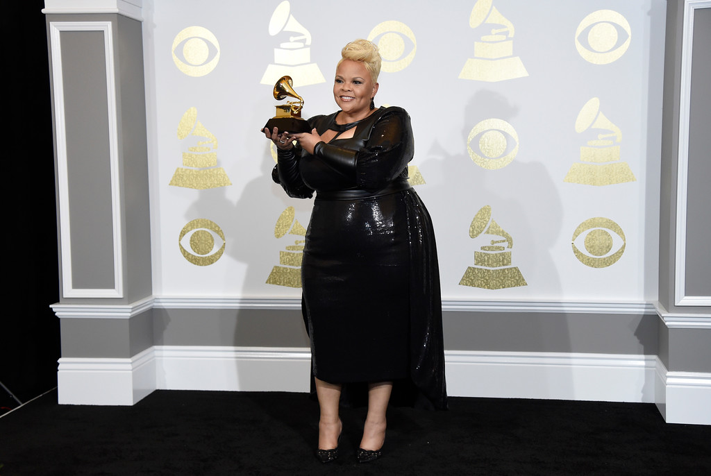 ". Tamela Mann poses in the press room with the award for best gospel performance/song for ""God Provides\"" at the 59th annual Grammy Awards at the Staples Center on Sunday, Feb. 12, 2017, in Los Angeles. (Photo by Chris Pizzello/Invision/AP)"