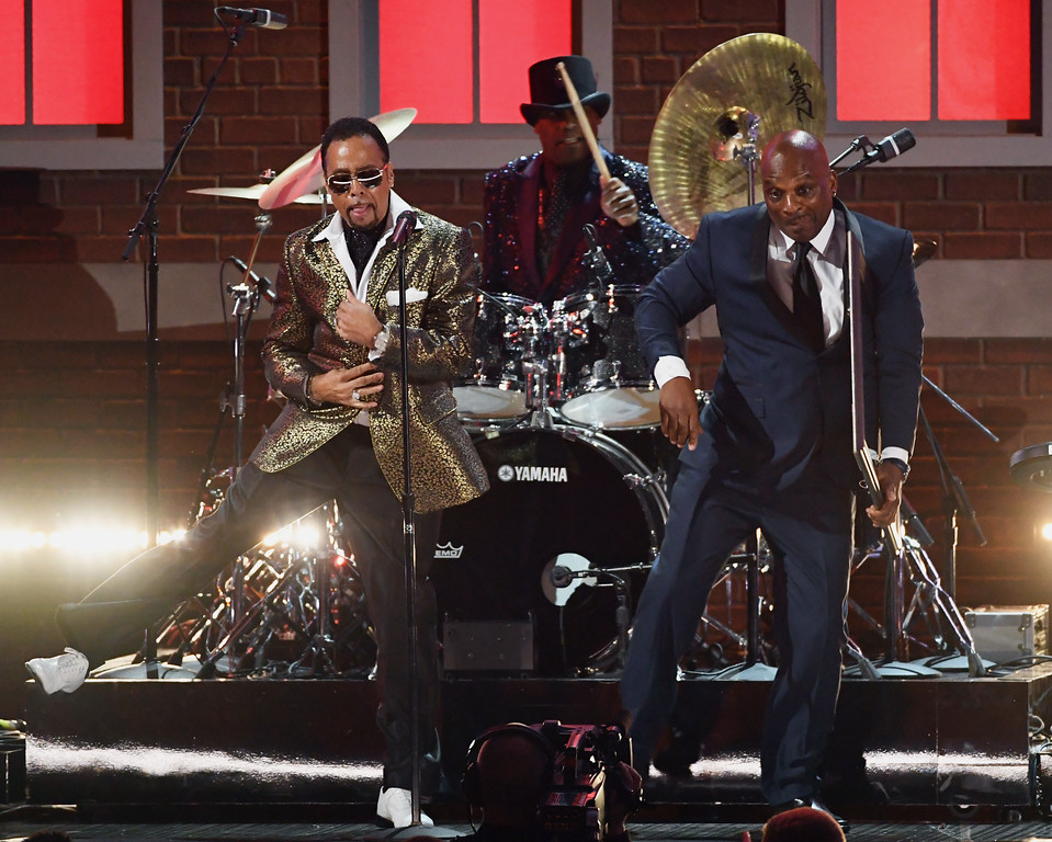 . LOS ANGELES, CA - FEBRUARY 12:  (L-R) Recording artists Morris Day, Jellybean Johnson, and Jerome Benton of music group The Time perform onstage during The 59th GRAMMY Awards at STAPLES Center on February 12, 2017 in Los Angeles, California.  (Photo by Kevin Winter/Getty Images for NARAS)