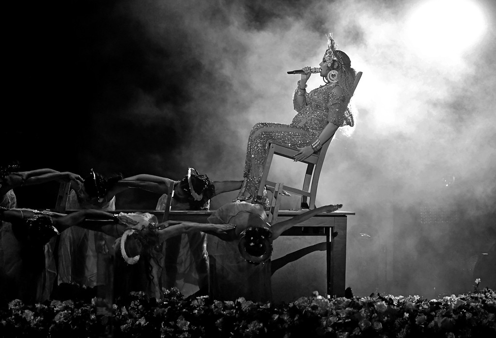 . LOS ANGELES, CA - FEBRUARY 12:  (EDITORS NOTE: Image has been converted to black and white.) Recording artist Beyonce performs onstage during The 59th GRAMMY Awards at STAPLES Center on February 12, 2017 in Los Angeles, California.  (Photo by Kevin Winter/Getty Images for NARAS)