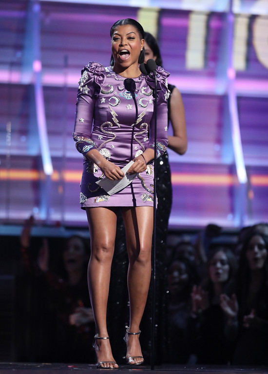 . Taraji P. Henson presents the award for best rap album at the 59th annual Grammy Awards on Sunday, Feb. 12, 2017, in Los Angeles. (Photo by Matt Sayles/Invision/AP)