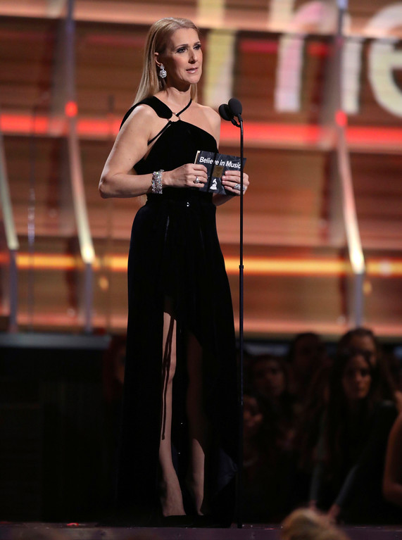 . Celine Dion presents the award for song of the year at the 59th annual Grammy Awards on Sunday, Feb. 12, 2017, in Los Angeles. (Photo by Matt Sayles/Invision/AP)