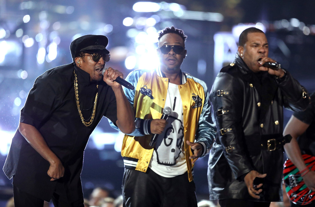 . Q-Tip, from left, Phife Dawg, and Jarobi White, from A Tribe Called Quest, perform at the 59th annual Grammy Awards on Sunday, Feb. 12, 2017, in Los Angeles. (Photo by Matt Sayles/Invision/AP)