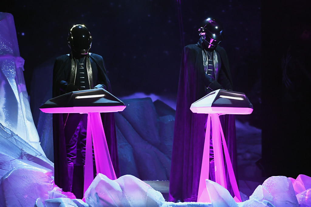 . LOS ANGELES, CA - FEBRUARY 12:  Music group Daft Punk performs onstage during The 59th GRAMMY Awards at STAPLES Center on February 12, 2017 in Los Angeles, California.  (Photo by Kevin Winter/Getty Images for NARAS)