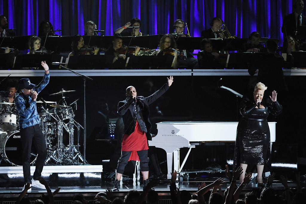 . LOS ANGELES, CA - FEBRUARY 12:  (L-R) Recording artists Chance the Rapper, Kirk Franklin, and Tamela Mann perform onstage during The 59th GRAMMY Awards at STAPLES Center on February 12, 2017 in Los Angeles, California.  (Photo by Kevin Winter/Getty Images for NARAS)