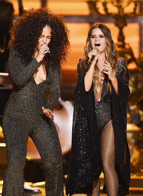 . LOS ANGELES, CA - FEBRUARY 12:  Recording artists Alicia Keys (L) and Maren Morris perform onstage during The 59th GRAMMY Awards at STAPLES Center on February 12, 2017 in Los Angeles, California.  (Photo by Kevin Winter/Getty Images for NARAS)