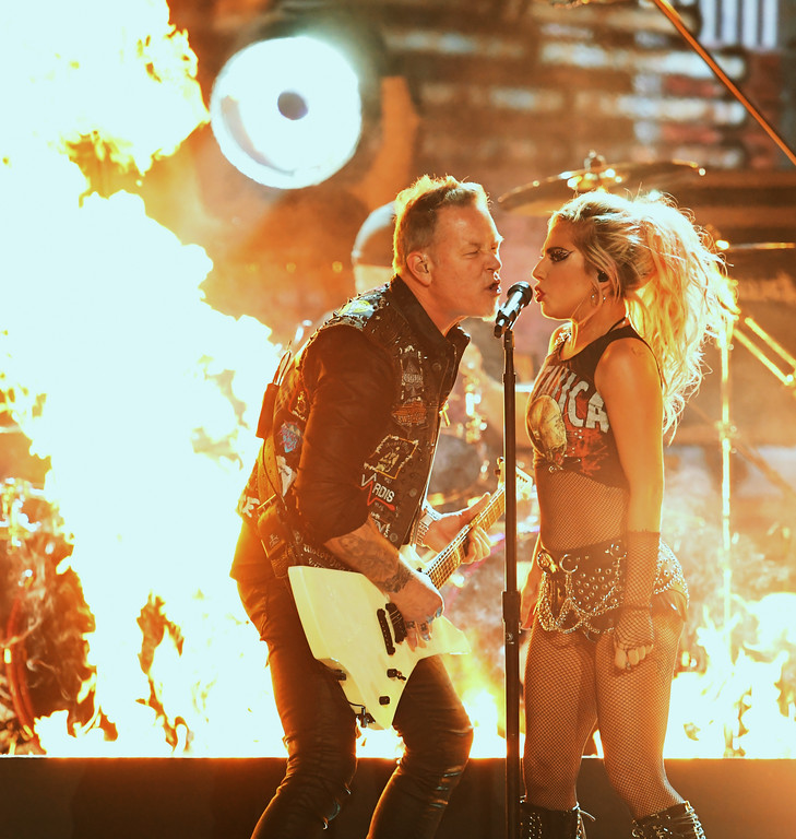 . LOS ANGELES, CA - FEBRUARY 12:  Recording artists James Hetfield (L) of music group Metallica and Lady Gaga perform onstage during The 59th GRAMMY Awards at STAPLES Center on February 12, 2017 in Los Angeles, California.  (Photo by Kevin Winter/Getty Images for NARAS)