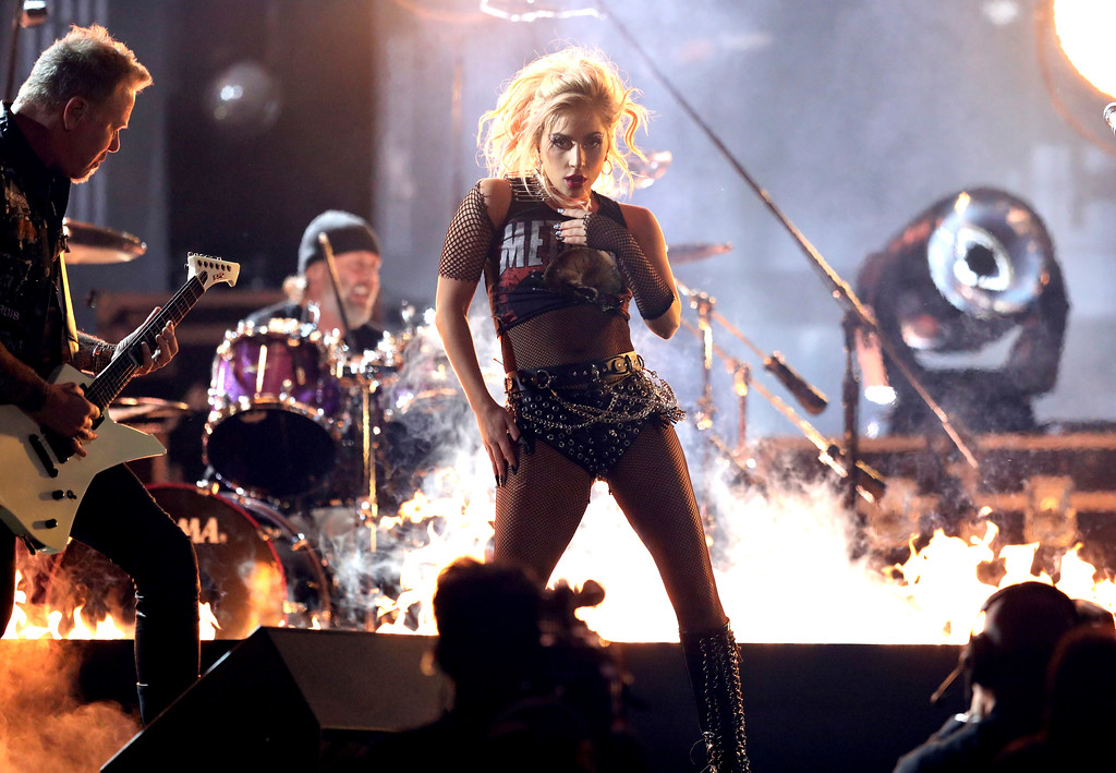 """. Lady Gaga, right, and James Hetfield of \""""Metallica,\"""" left, perform \""""Moth Into Flame\"""" at the 59th annual Grammy Awards on Sunday, Feb. 12, 2017, in Los Angeles. (Photo by Matt Sayles/Invision/AP)"""