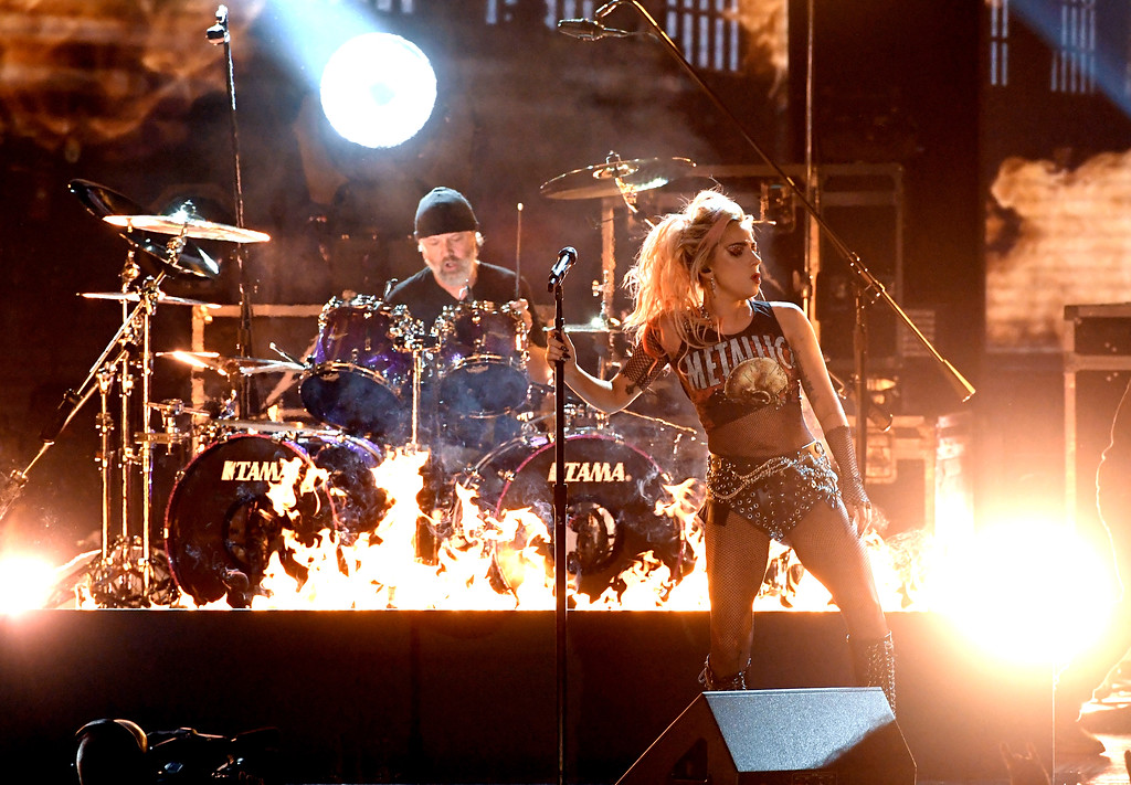 . LOS ANGELES, CA - FEBRUARY 12:  Recording artists Lars Ulrich (L) of music group Metallica and Lady Gaga perform onstage during The 59th GRAMMY Awards at STAPLES Center on February 12, 2017 in Los Angeles, California.  (Photo by Kevin Winter/Getty Images for NARAS)