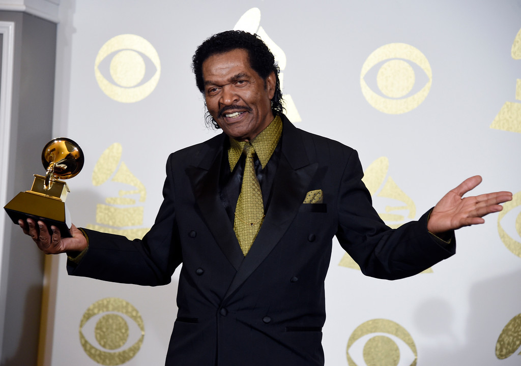 ". Bobby Rush poses in the press room with the award for best traditional blues album for ""Porcupine Meat\"" at the 59th annual Grammy Awards at the Staples Center on Sunday, Feb. 12, 2017, in Los Angeles. (Photo by Chris Pizzello/Invision/AP)"
