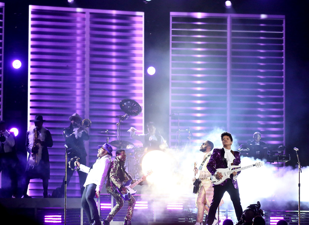 . Bruno Mars performs a tribute to Prince at the 59th annual Grammy Awards on Sunday, Feb. 12, 2017, in Los Angeles. (Photo by Matt Sayles/Invision/AP)