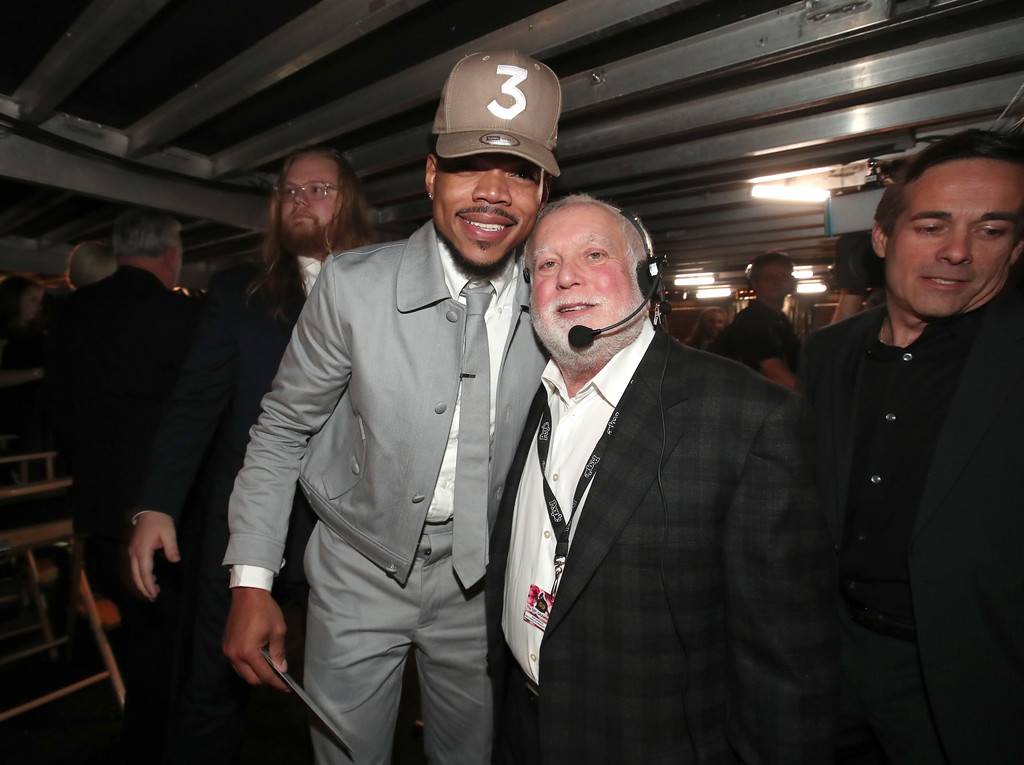 . LOS ANGELES, CA - FEBRUARY 12: Hip Hop Artist Chance The Rapper and GRAMMY Awards show producer Ken Ehrlich attend The 59th GRAMMY Awards at STAPLES Center on February 12, 2017 in Los Angeles, California.  (Photo by Christopher Polk/Getty Images for NARAS)