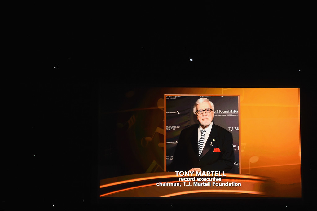 . LOS ANGELES, CA - FEBRUARY 12:  An image of the late Tony Martell is projected on a video screen during The 59th GRAMMY Awards at STAPLES Center on February 12, 2017 in Los Angeles, California.  (Photo by Kevin Winter/Getty Images for NARAS)