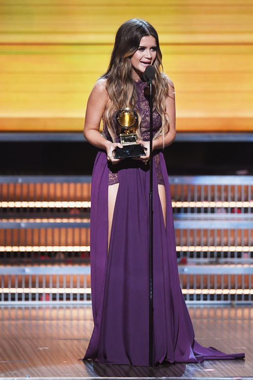 . LOS ANGELES, CA - FEBRUARY 12:  Recording artist Maren Morris accepts the Best Country Solo Performance award for \'My Church\' onstage during The 59th GRAMMY Awards at STAPLES Center on February 12, 2017 in Los Angeles, California.  (Photo by Kevin Winter/Getty Images for NARAS)