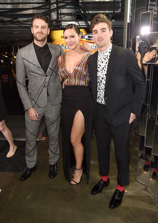 . LOS ANGELES, CA - FEBRUARY 12:   Actor/singer Katharine McPhee (C) with DJs Alex Pall (L) and Andrew Taggart (R) of The Chainsmokers attend The 59th GRAMMY Awards at STAPLES Center on February 12, 2017 in Los Angeles, California.  (Photo by Alberto E. Rodriguez/Getty Images for NARAS)