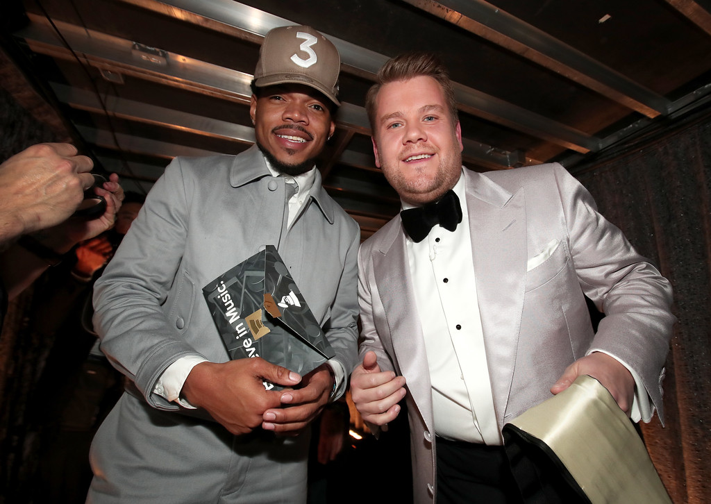 . LOS ANGELES, CA - FEBRUARY 12: Hip Hop Artist Chance The Rapper and GRAMMY Awards host James Corden attend The 59th GRAMMY Awards at STAPLES Center on February 12, 2017 in Los Angeles, California.  (Photo by Christopher Polk/Getty Images for NARAS)