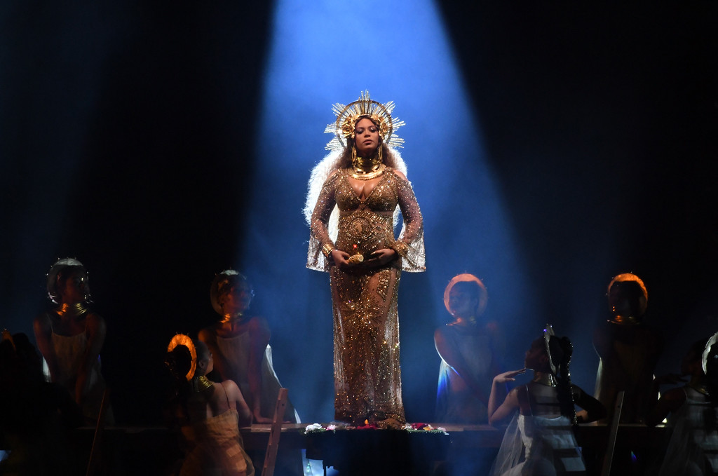 . LOS ANGELES, CA - FEBRUARY 12:  Recording artist Beyonce performs onstage during The 59th GRAMMY Awards at STAPLES Center on February 12, 2017 in Los Angeles, California.  (Photo by Kevin Winter/Getty Images for NARAS)