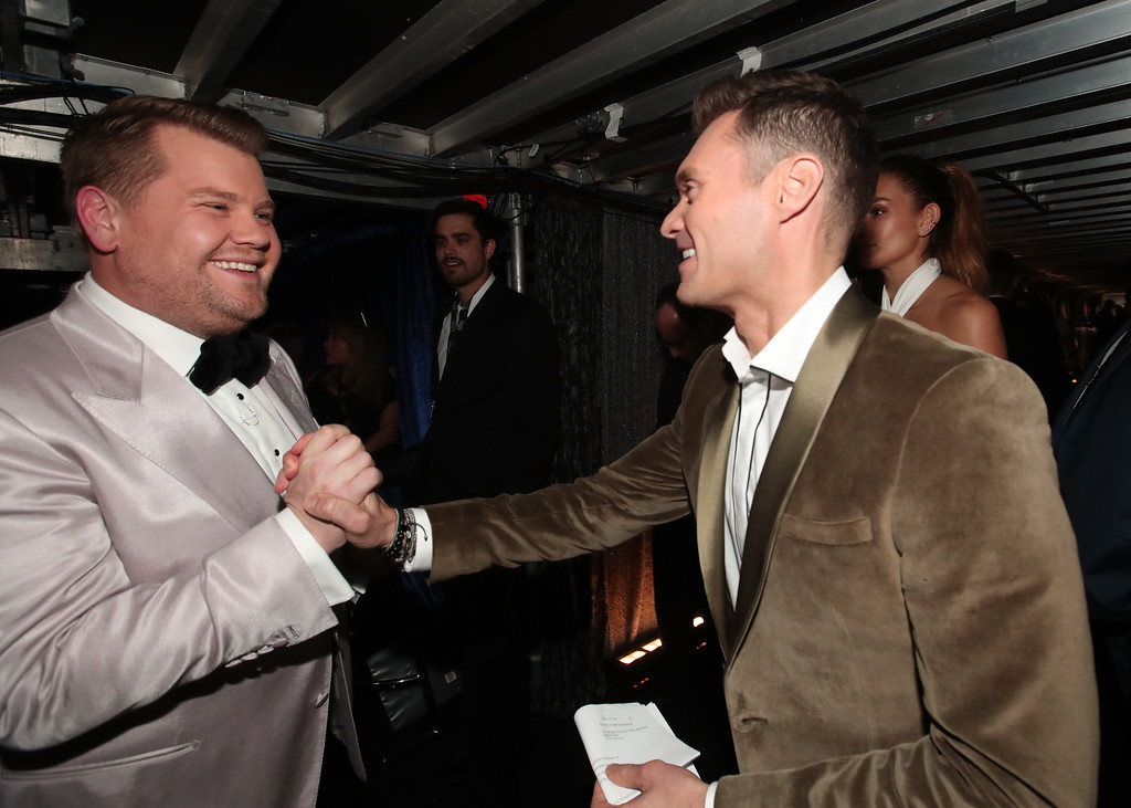 . LOS ANGELES, CA - FEBRUARY 12:  (L-R) Television personalities James Corden and Ryan Seacrest attend The 59th GRAMMY Awards at STAPLES Center on February 12, 2017 in Los Angeles, California.  (Photo by Christopher Polk/Getty Images for NARAS)