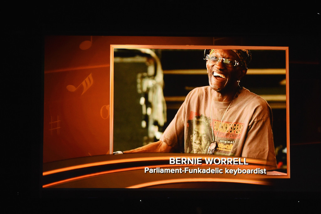 . LOS ANGELES, CA - FEBRUARY 12:  An image of the late Bernie Worrell is projected on a video screen during The 59th GRAMMY Awards at STAPLES Center on February 12, 2017 in Los Angeles, California.  (Photo by Kevin Winter/Getty Images for NARAS)