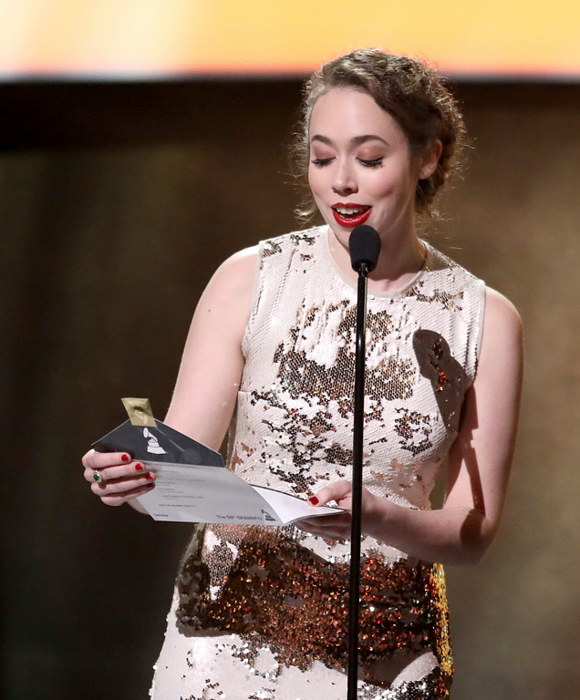 . Sarah Jarosz speaks at the 59th annual Grammy Awards on Sunday, Feb. 12, 2017, in Los Angeles. (Photo by Matt Sayles/Invision/AP)