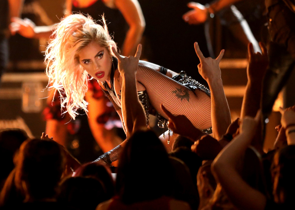 """. Lady Gaga performs \""""Moth Into Flame\"""" at the 59th annual Grammy Awards on Sunday, Feb. 12, 2017, in Los Angeles. (Photo by Matt Sayles/Invision/AP)"""