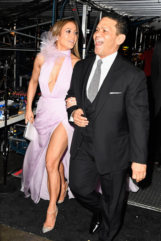 . LOS ANGELES, CA - FEBRUARY 12:  Actor/singer Jennifer Lopez and producer Benny Medina attend The 59th GRAMMY Awards at STAPLES Center on February 12, 2017 in Los Angeles, California.  (Photo by Frazer Harrison/Getty Images for NARAS)