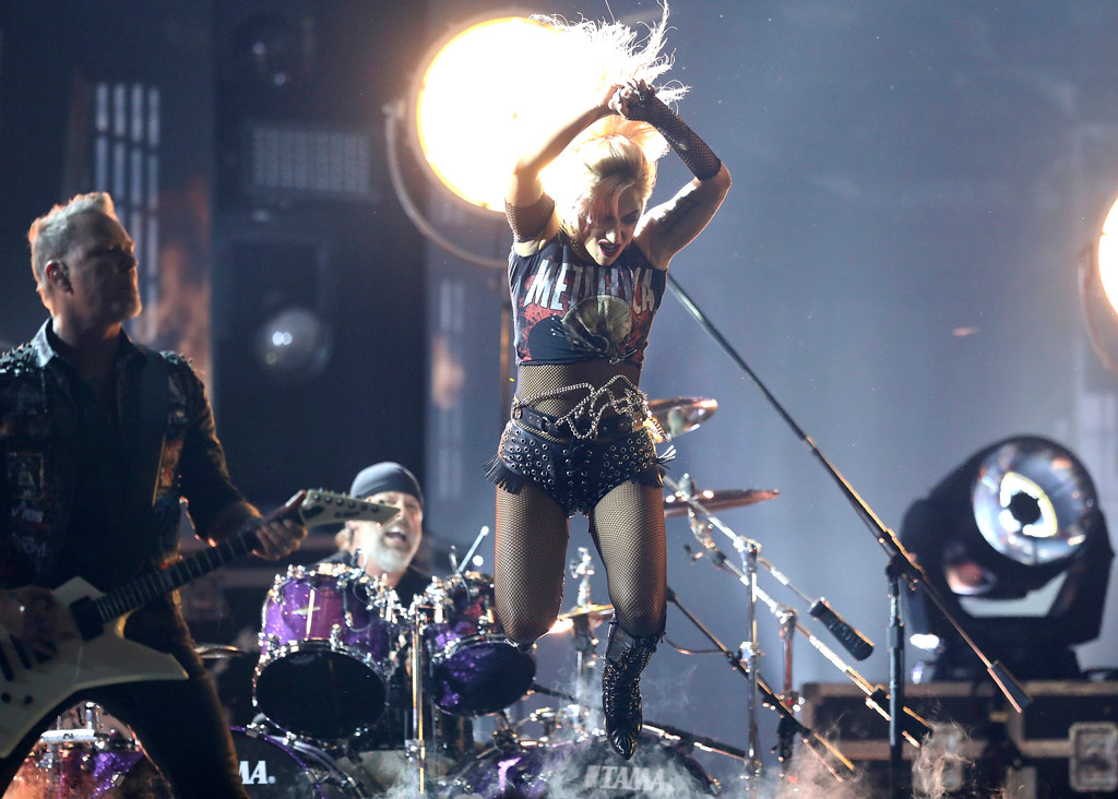 """. Lady Gaga, right, and Metallica perform \""""Moth Into Flame\"""" at the 59th annual Grammy Awards on Sunday, Feb. 12, 2017, in Los Angeles. (Photo by Matt Sayles/Invision/AP)"""