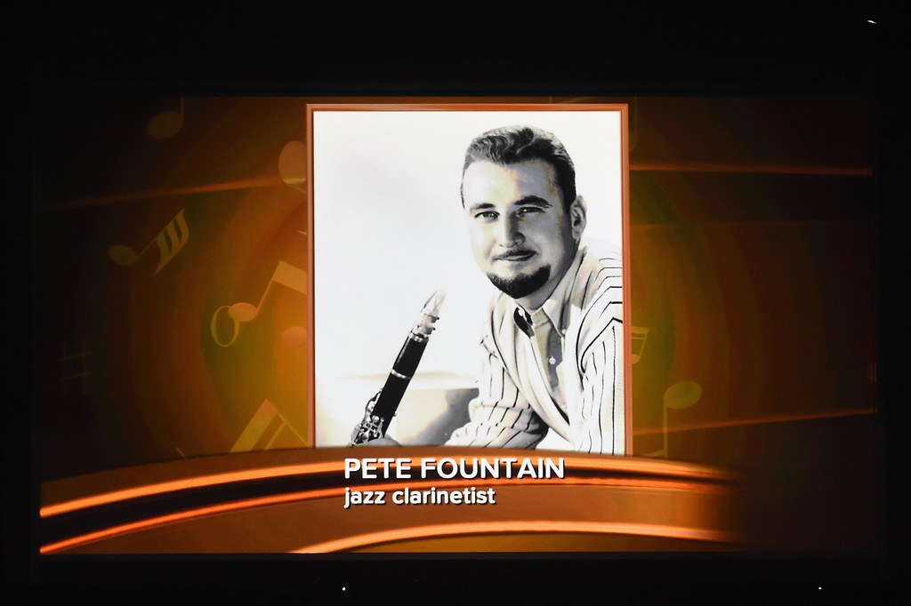 . LOS ANGELES, CA - FEBRUARY 12:  An image of the late Pete Fountain is projected on a video screen during The 59th GRAMMY Awards at STAPLES Center on February 12, 2017 in Los Angeles, California.  (Photo by Kevin Winter/Getty Images for NARAS)