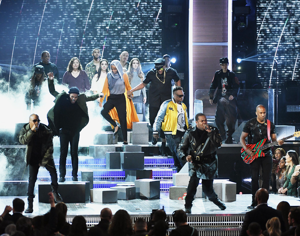 . LOS ANGELES, CA - FEBRUARY 12:  (L-R) Hip-hop artists Consequence, Anderson .Paak:Q-Tip, Jarobi White, Busta Rhymes and Ali Shaheed Muhammad  perform onstage during The 59th GRAMMY Awards at STAPLES Center on February 12, 2017 in Los Angeles, California.  (Photo by Kevin Winter/Getty Images for NARAS)