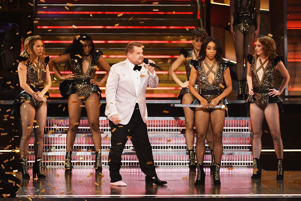 . LOS ANGELES, CA - FEBRUARY 12:  Host James Corden (C) speaks onstage during The 59th GRAMMY Awards at STAPLES Center on February 12, 2017 in Los Angeles, California.  (Photo by Kevin Winter/Getty Images for NARAS)