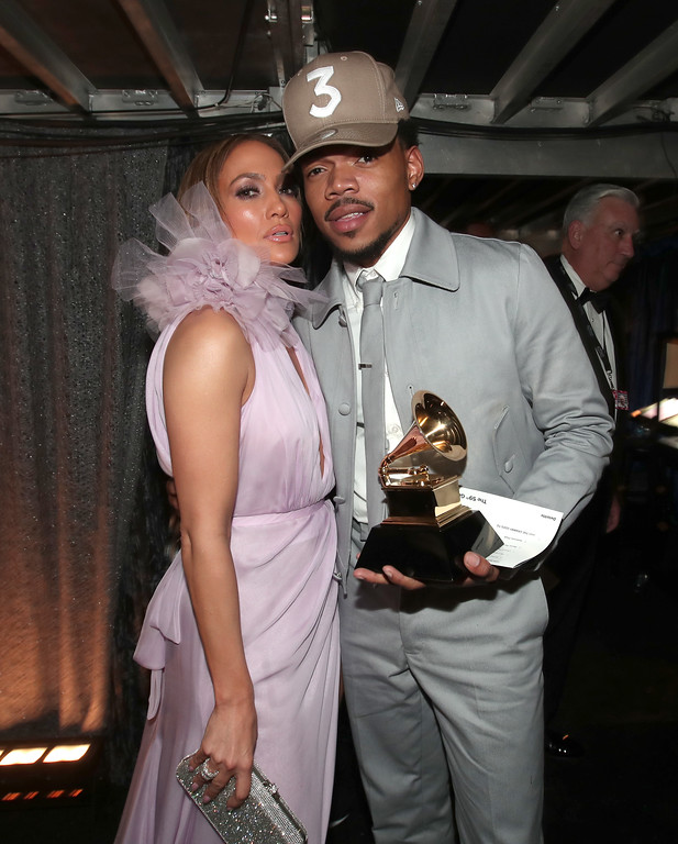 . LOS ANGELES, CA - FEBRUARY 12:  Actress/Singer Jennifer Lopez and hip-hop artist Chance The Rapper attend The 59th GRAMMY Awards at STAPLES Center on February 12, 2017 in Los Angeles, California.  (Photo by Christopher Polk/Getty Images for NARAS)