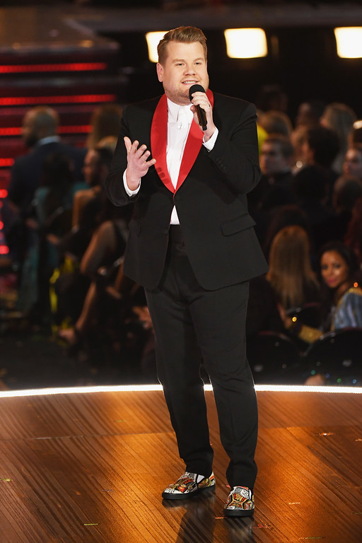 . LOS ANGELES, CA - FEBRUARY 12:  Host James Corden speaks onstage during The 59th GRAMMY Awards at STAPLES Center on February 12, 2017 in Los Angeles, California.  (Photo by Kevin Winter/Getty Images for NARAS)