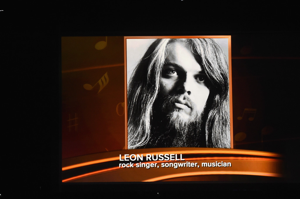 . LOS ANGELES, CA - FEBRUARY 12:  An image of the late Leon Russell is projected on a video screen during The 59th GRAMMY Awards at STAPLES Center on February 12, 2017 in Los Angeles, California.  (Photo by Kevin Winter/Getty Images for NARAS)
