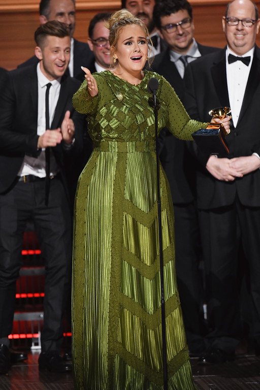 . LOS ANGELES, CA - FEBRUARY 12:  Recording artist Adele accepts the Album Of The Year award for \'25\' onstage during The 59th GRAMMY Awards at STAPLES Center on February 12, 2017 in Los Angeles, California.  (Photo by Kevin Winter/Getty Images for NARAS)