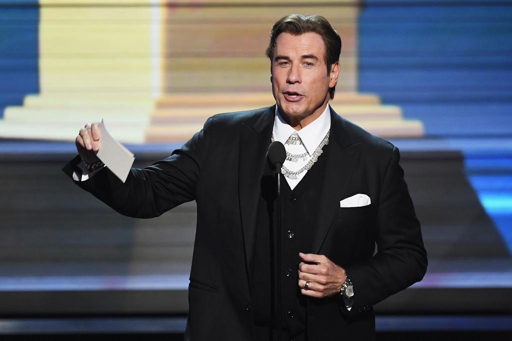 . LOS ANGELES, CA - FEBRUARY 12:  Actor John Travolta speaks onstage during The 59th GRAMMY Awards at STAPLES Center on February 12, 2017 in Los Angeles, California.  (Photo by Kevin Winter/Getty Images for NARAS)