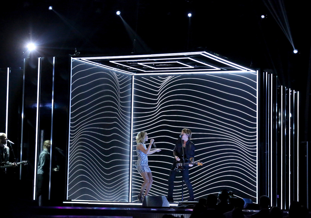 """. Keith Urban, right, and Carrie Underwood perform \""""The Fighter\"""" at the 59th annual Grammy Awards on Sunday, Feb. 12, 2017, in Los Angeles. (Photo by Matt Sayles/Invision/AP)"""