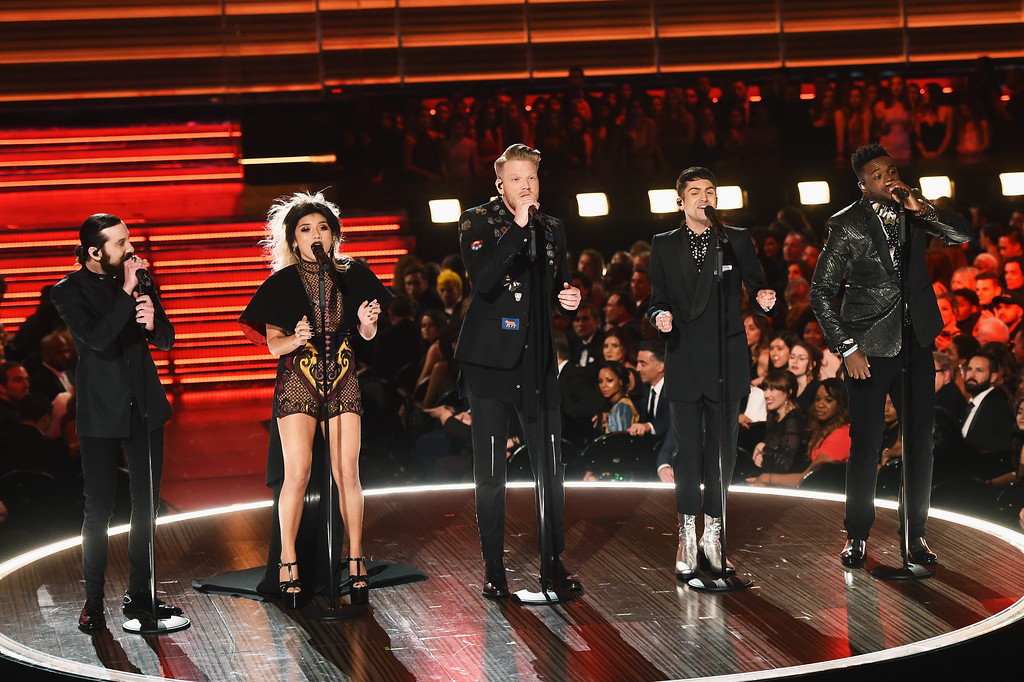 . LOS ANGELES, CA - FEBRUARY 12:  (L-R) Recording artists Avi Kaplan, Kirstin Maldonado, Scott Hoying, Mitch Grassi, and Kevin Olusola of music group Pentatonix perform onstage during The 59th GRAMMY Awards at STAPLES Center on February 12, 2017 in Los Angeles, California.  (Photo by Kevin Winter/Getty Images for NARAS)
