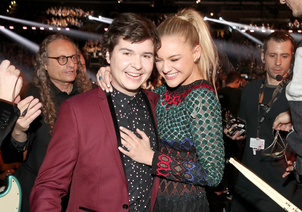 . LOS ANGELES, CA - FEBRUARY 12: Singers Lukas Forchhammer of Lukas Graham and Kelsea Ballerini during The 59th GRAMMY Awards at STAPLES Center on February 12, 2017 in Los Angeles, California.  (Photo by Christopher Polk/Getty Images for NARAS)