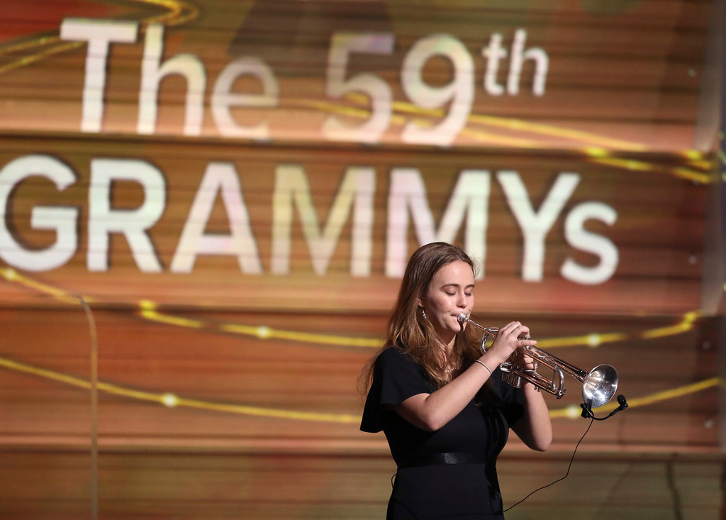 . Miranda Agnew performs at the 59th annual Grammy Awards on Sunday, Feb. 12, 2017, in Los Angeles. (Photo by Matt Sayles/Invision/AP)