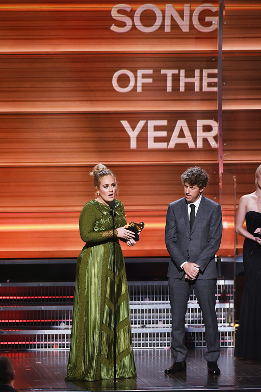 . LOS ANGELES, CA - FEBRUARY 12:  Songwriters Adele Adkins (L) and Greg Kurstin accept the Song Of The Year award for \'Hello\' onstage during The 59th GRAMMY Awards at STAPLES Center on February 12, 2017 in Los Angeles, California.  (Photo by Kevin Winter/Getty Images for NARAS)