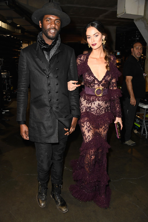 . LOS ANGELES, CA - FEBRUARY 12:  Musician Gary Clark Jr. (L) and model Nicole Trunfio attend The 59th GRAMMY Awards at STAPLES Center on February 12, 2017 in Los Angeles, California.  (Photo by Frazer Harrison/Getty Images for NARAS)