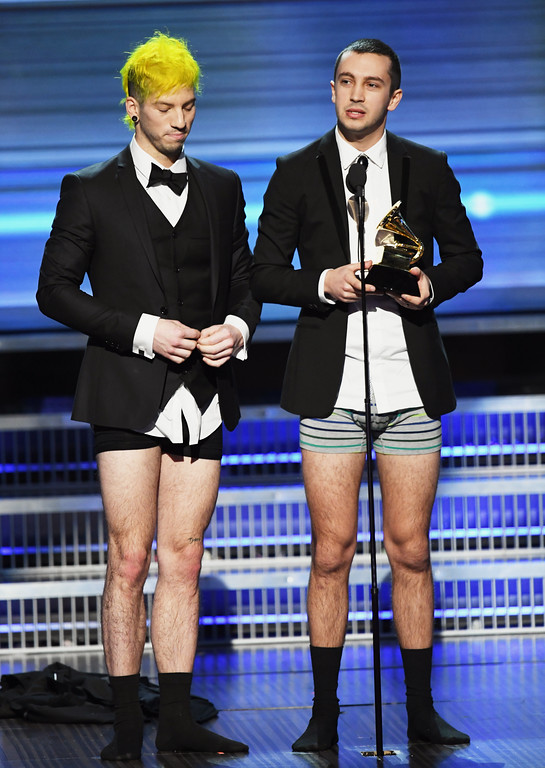 . LOS ANGELES, CA - FEBRUARY 12:  Recording artists Josh Dun (L) and Tyler Joseph of music group Twenty One Pilots accept the Best Pop Duo/Group Performance award for \'Stressed Out\' onstage during The 59th GRAMMY Awards at STAPLES Center on February 12, 2017 in Los Angeles, California.  (Photo by Kevin Winter/Getty Images for NARAS)
