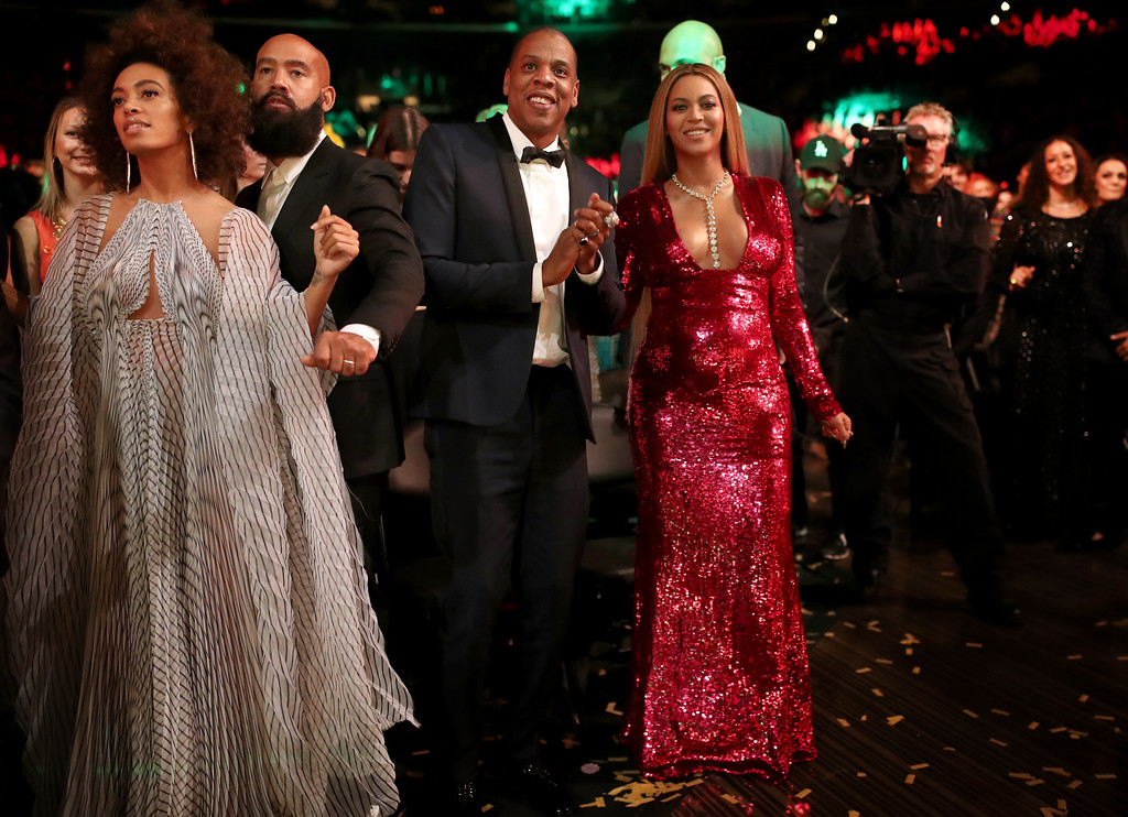 . LOS ANGELES, CA - FEBRUARY 12:  (L-R) Singer Solange Knowles, Alan Ferguson, hip hop artist Jay-Z and singer Beyonce during The 59th GRAMMY Awards at STAPLES Center on February 12, 2017 in Los Angeles, California.  (Photo by Christopher Polk/Getty Images for NARAS)
