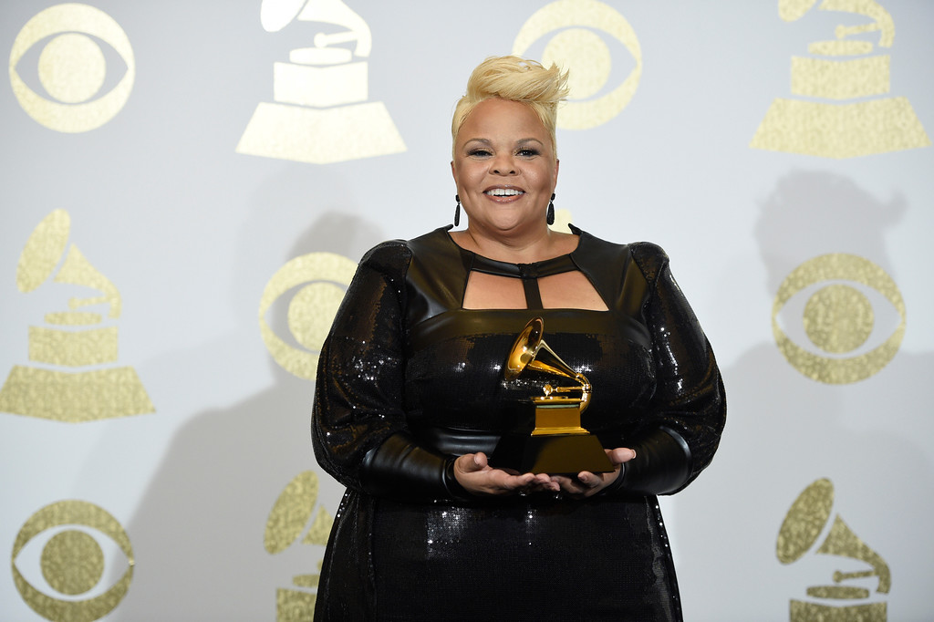 """. Tamela Mann poses in the press room with the award for best gospel performance/song for \""""God Provides\"""" at the 59th annual Grammy Awards at the Staples Center on Sunday, Feb. 12, 2017, in Los Angeles. (Photo by Chris Pizzello/Invision/AP)"""