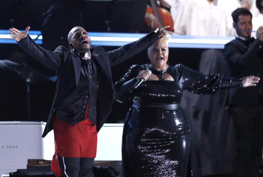 . Kirk Franklin, left, and Tamela Mann perform at the 59th annual Grammy Awards on Sunday, Feb. 12, 2017, in Los Angeles. (Photo by Matt Sayles/Invision/AP)