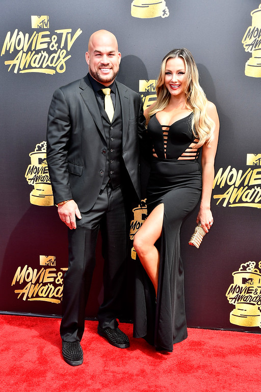 . LOS ANGELES, CA - MAY 07:  MMA fighter Tito Ortiz and Amber Nichole Miller attend the 2017 MTV Movie And TV Awards at The Shrine Auditorium on May 7, 2017 in Los Angeles, California.  (Photo by Frazer Harrison/Getty Images)