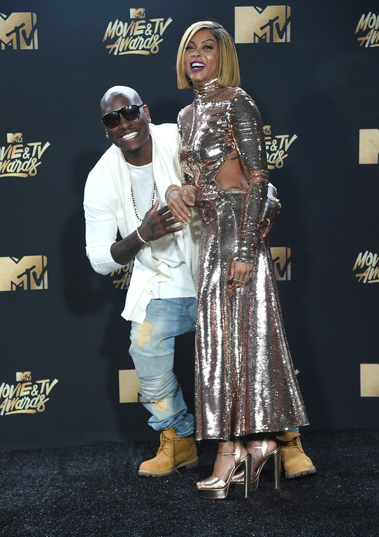 . Tyrese Gibson, left, and Taraji P. Henson arrive at the MTV Movie and TV Awards at the Shrine Auditorium on Sunday, May 7, 2017, in Los Angeles. (Photo by Richard Shotwell/Invision/AP)